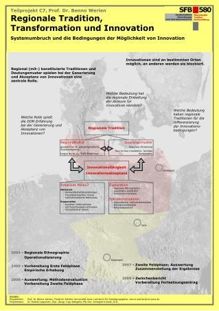 Teilprojekt C7, Prof. Dr. Benno Werlen Regionale Tradition,  Transformation und Innovation Systemumbruch und die Bedingu