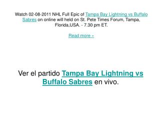 Tampa Bay Lightning vs Buffalo Sabres - Live & Exclusive On