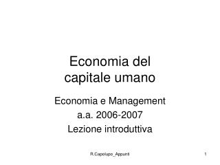 Economia del capitale umano
