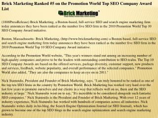 Brick Marketing Ranked #5 on the Promotion World Top SEO Com