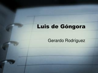 Luis de G ngora
