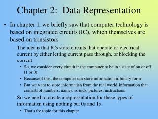 Chapter 2:  Data Representation