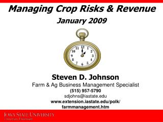 Managing Crop Risks  Revenue January 2009