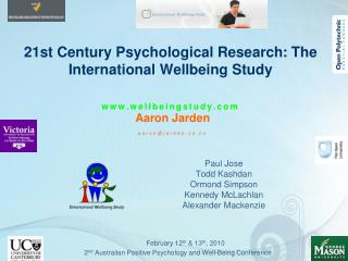21st Century Psychological Research: The International Wellbeing Study     wellbeingstudy