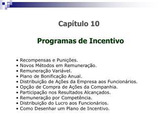 Cap tulo 10  Programas de Incentivo