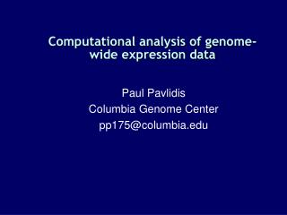 Computational analysis of genome-wide expression data