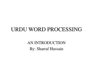 URDU WORD PROCESSING