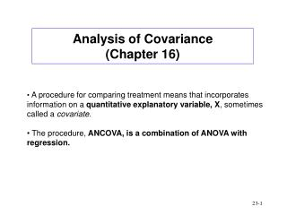Analysis of Covariance Chapter 16