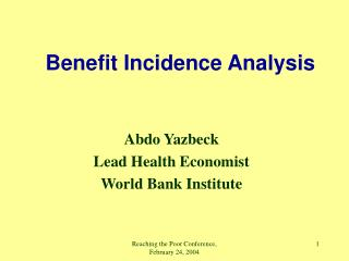 Benefit Incidence Analysis