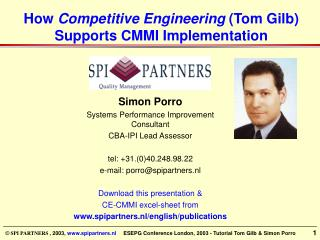 How Competitive Engineering Tom Gilb  Supports CMMI Implementation