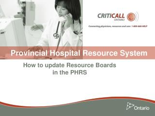 Provincial Hospital Resource System