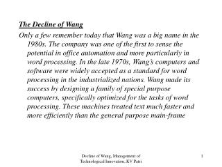 Decline of Wang