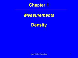 Chapter 1  Measurements