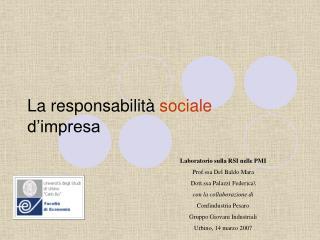 La responsabilit  sociale             d impresa