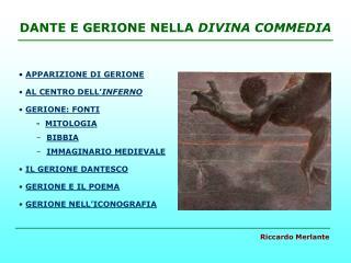DANTE E GERIONE NELLA DIVINA COMMEDIA