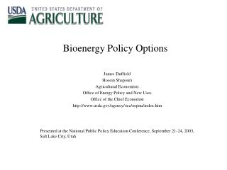 Bioenergy Policy Options
