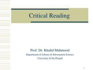Critical Reading