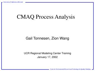 CMAQ Process Analysis