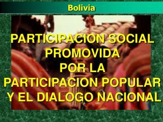 PARTICIPACION SOCIAL  PROMOVIDA  POR LA  PARTICIPACION POPULAR  Y EL DIALOGO NACIONAL