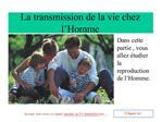 La transmission de la vie chez l Homme