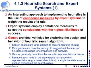 4.1.3 Heuristic Search and Expert Systems 1