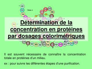 D termination de la concentration en prot ines par dosages colorim triques