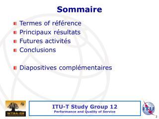 Commission dEtude 12 de lUIT-T   Qualit  de service et de fonctionnement