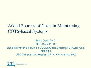Added Sources of Costs in Maintaining COTS-based Systems