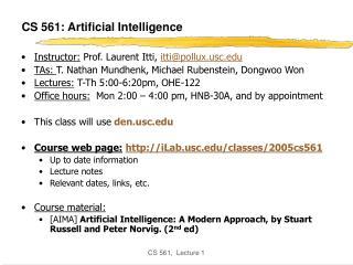CS 561: Artificial Intelligence