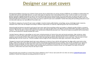 Designer car seat covers