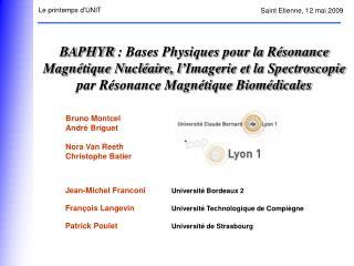 BAPHYR : Bases Physiques pour la R sonance Magn tique Nucl aire, l Imagerie et la Spectroscopie par R sonance Magn tique