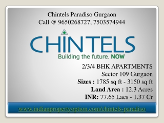 Chintels Paradiso Gurgaon
