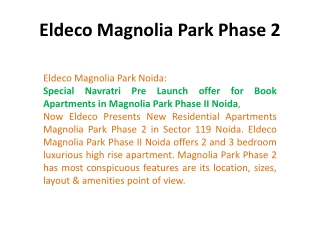 Magnolia Park Phase 2 -9899606065- Magnolia Park Sector 119