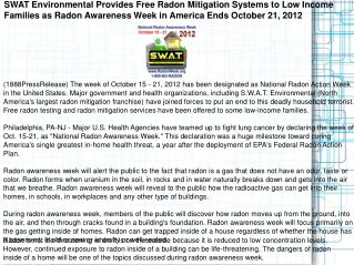 SWAT Environmental Provides Free Radon Mitigation Systems