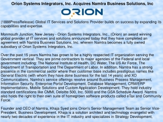 Orion Systems Integrators, Inc. Acquires Namtra Business Sol