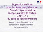 Proposition de listes  pour le classement des cours d eau du d partement de l Ari ge, au titre de l article  L 214-17-I