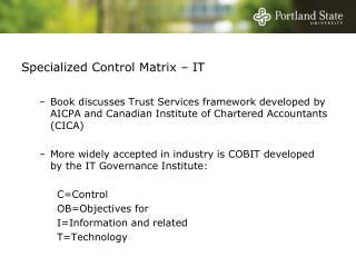 Specialized Control Matrix   IT