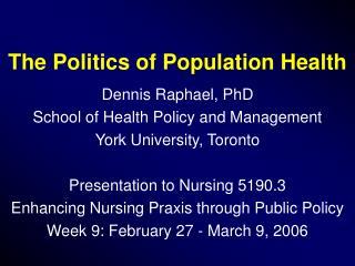 The Politics of Population Health