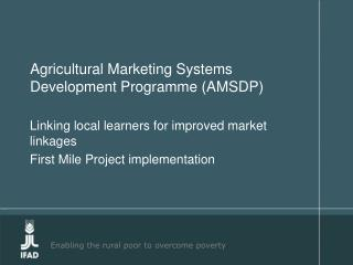 Agricultural Marketing Systems Development Programme AMSDP