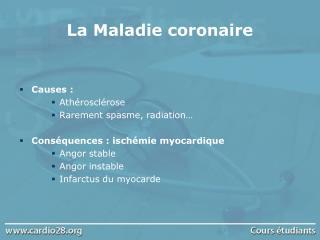 La Maladie coronaire