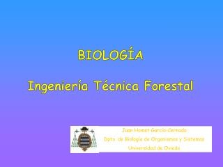BIOLOG A  Ingenier a T cnica Forestal
