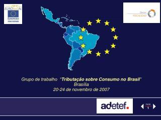 Grupo de trabalho   Tributa  o sobre Consumo no Brasil  Bras lia  20-24 de novembro de 2007