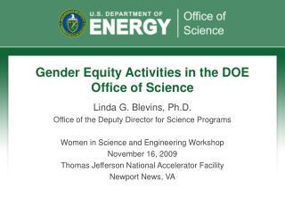 Gender Equity Activities in the DOE Office of Science