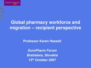 Global pharmacy workforce and migration   recipient perspective