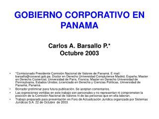 GOBIERNO CORPORATIVO EN PANAMA