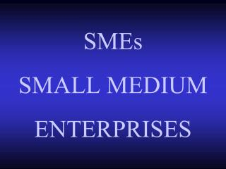 SMEs  SMALL MEDIUM ENTERPRISES