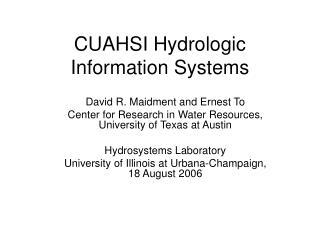 CUAHSI Hydrologic Information Systems