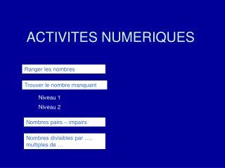 ACTIVITES NUMERIQUES