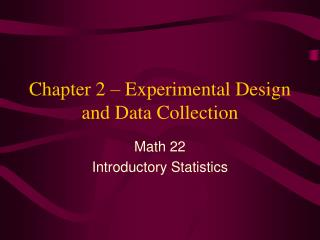 Chapter 2   Experimental Design and Data Collection