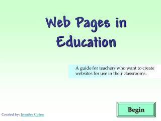 Web Pages in Education